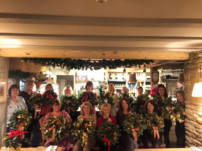 Our fantastic group of ladies at the Pear Tree Pub with their wreaths